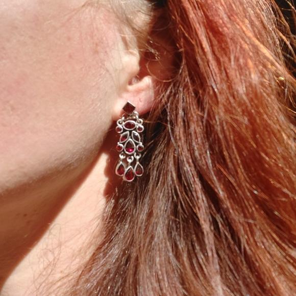 Genuine garnet and Sterling earrings